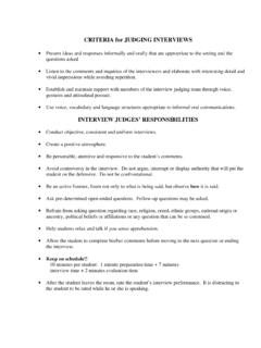 CRITERIA for JUDGING INTERVIEWS - Maine AD