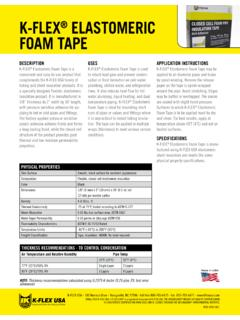 K-FLEX ELASTOMERIC FOAM TAPE - Burnham Insulation