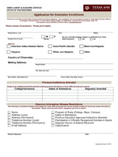 Application for Extension Enrollment - Office of the Registrar