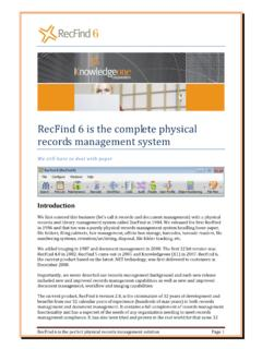 RecFind 6 is the complete physical records management …