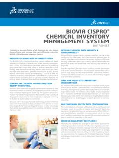 BIOVIA CISPRO CHEMICAL INVENTORY …