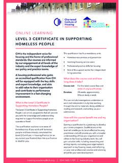 LEVEL 3 CERTIFICATE IN SUPPORTING HOMELESS PEOPLE