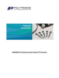 SMD0805 HF Series Surface Mount PTC Devices
