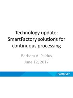 Technology update: SmartFactory solutions for continuous ...