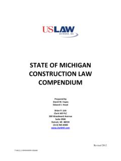 STATE OF MICHIGAN CONSTRUCTION LAW …