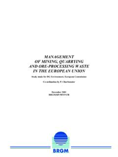 MANAGEMENT OF MINING, QUARRYING AND ORE …