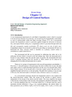 Elevator Design Chapter 12 Design of Control Surfaces