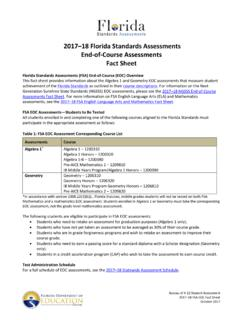 2017-18 FSA EOC Assessments Fact Sheet