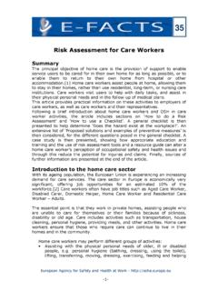 E-fact 35: Risk Assessment for Care Workers