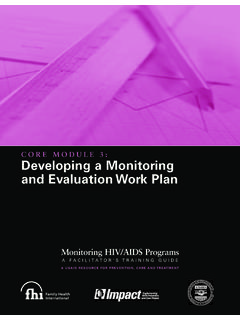 CORE MODULE 3: Developing a Monitoring and Evaluation …
