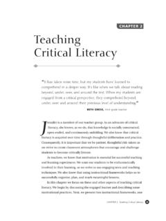 CHAPTER 2 Teaching Critical Literacy - Educational …
