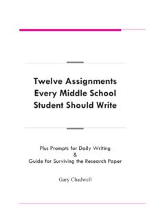 Twelve Assignments Every Middle School Student Should …