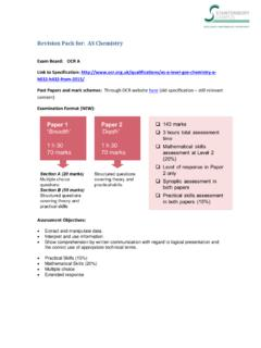 Revision Pack for: AS Chemistry - Stantonbury Campus