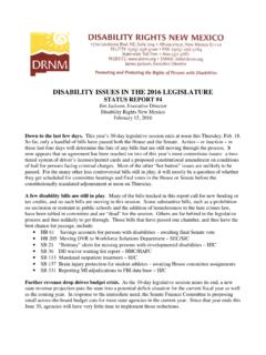 DISABILITY ISSUES IN THE 2016 LEGISLATURE …