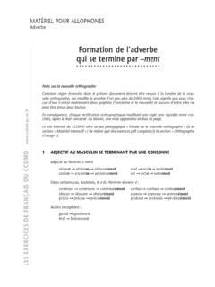 Formation de l'adverbe qui se termine par –ment