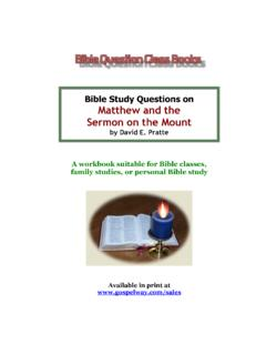Bible Study Questions on Matthew and the Sermon …