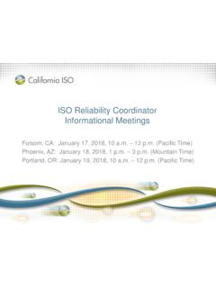 ISO Reliability Coordinator Informational Meetings