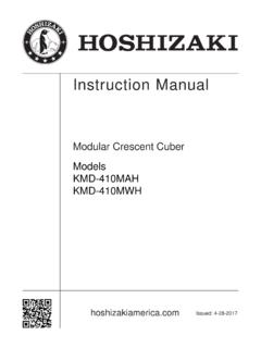 Instruction Manual - HOSHIZAKI