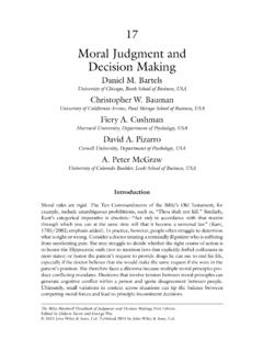 Moral Judgment and Decision Making - University …