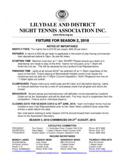 LILYDALE AND DISTRICT NIGHT TENNIS …