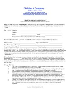 MARINE SURVEY AGREEMENT A form contract for the …