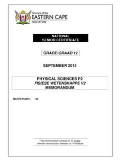 GRADE/GRAAD 12 SEPTEMBER 2015 PHYSICAL SCIENCES P2 FISIESE ...