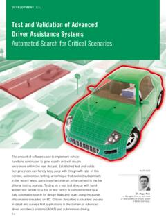 ECU Test and Validation of Advanced Driver Assistance ...