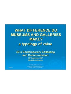 WHAT DIFFERENCE DO MUSEUMS AND GALLERIES MAKE? …
