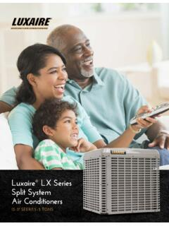 Luxaire LX Series Split System Air Conditioners Consumer ...