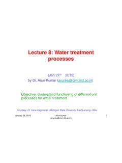 Lecture 8: Water treatment processes - Indian Institute of ...