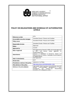 Policy on Delegations and Schedule of …