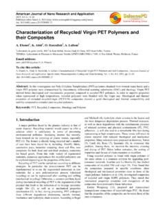 Characterization of Recycled/ Virgin PET Polymers …
