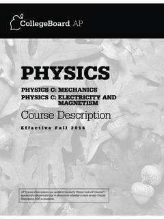 AP PHYSICS C COURSE DESCRIPTION EFFECTIVE FALL 2014