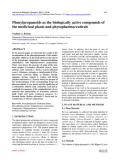 Phenylpropanoids as the biologically active …