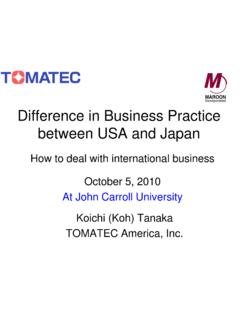 Difference in Business Practice between USA and Japan