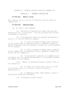 ARTICLE 1 - GENERAL PROVISIONS - soswy.state.wy.us