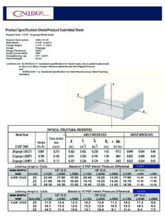 Product Specification Sheet/Product Submittal Sheet