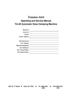 Operating and Service Manual TA-3D Automatic Hose …