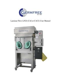 Laminar Flow LFGI (CAI or CACI) User Manual