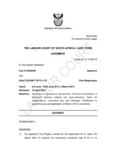 THE LABOUR COURT OF SOUTH AFRICA, CAPE TOWN …