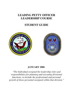 LEADING PETTY OFFICER LEADERSHIP COURSE …