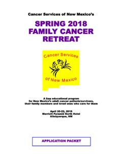 Cancer Services of New Mexico s SPRING 2018 FAMILY …