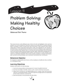 Problem Solving: Making Healthy Choices - Planet Health