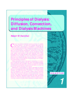Principles of Dialysis: Diffusion, Convection, and ...