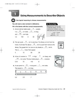 Using Measurements to Describe Objects - ELEMENTARY