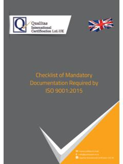 Checklist of Mandatory Documentation Required by ISO …