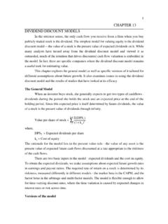 CHAPTER 13 DIVIDEND DISCOUNT MODELS - NYU