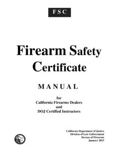 Firearm Safety Certificate Manual - State of California