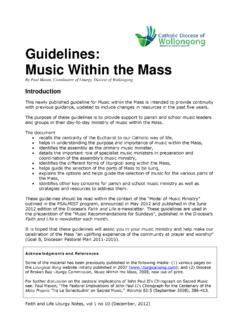 Guidelines - Music Within the Mass - Liturgy Handbook
