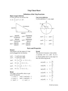Trig Cheat Sheet - Lamar University